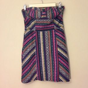 UO Staring at Stars Strapless Woven Aztec Dress